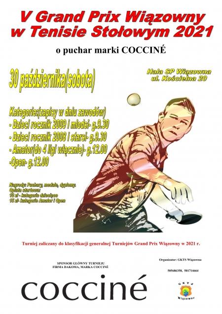 V Turnieju Grand Prix Wiązowny w Tenisie Stołowym